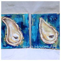 ORIGINAL ART Oyster Painting Set of 2 by TheGildedPolkaDot on Etsy