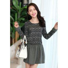 Zig-Zag Pattern Top Wool Skirt Long Sleeve Dress Cashmere YRB0388