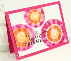 Tie Dye Techniques (Copic Markers) - Hello Friend Card by Nichole Heady for Papertrey Ink (July 2012)