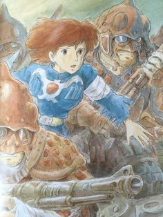Nausicaä of the Valley of the Wind. Watercolor illustration by Hayao Miyazaki.