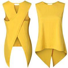 About London Fashion Week Top Sleeveless O Neck Asymmetry Fashion Women Loose Blouse T Shirt Summer HOT T-shirt Refashion, Fashion Sewing, Sewing Clothes, Blouse Designs, Blouses For Women, Diy Tops For Women, Ideias Fashion, Fashion Ideas, Fashion Inspiration