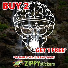 Brain Alien Decal - Vinyl Decal Sticker - Alien Skull Brain - Believe - X Files - Alien Abduction by ZippyStickers on Etsy