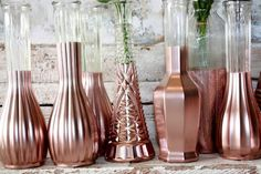 Rose Gold vases, gold wedding decor,  Set of 12 rose gold dipped vases and, gold painted vase, rose gold wedding table decor by thepaisleymoon on Etsy https://www.etsy.com/listing/265595212/rose-gold-vases-gold-wedding-decor-set