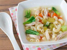 Macaroni and vegetable soup.