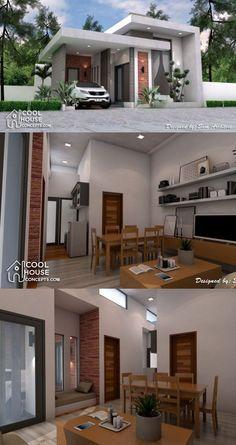 Minimalist House Design with 2 Bedrooms Minimal House Design, Modern Minimalist House, Simple House Design, Minimalist Interior, Minimalist Bedroom, Bedroom Modern, Little House Plans, Small Modern House Plans, Modern Small House Design