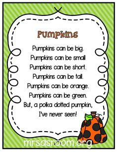 Poems are so much fun to use in preschool and kindergarten! And, these three poems are perfect for your pumpkins theme! Plus, the different formats will give you lots of ideas and activities to use them for! - Education and lifestyle Kindergarten Poems, Preschool Poems, Kids Poems, Fall Preschool, Preschool Classroom, Preschool Activities, Therapy Activities, Easy Poems For Kids, Halloween Poems For Kids