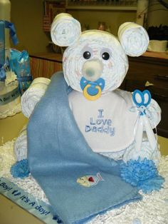 Diaper bear (instead of diaper cake) for baby showers :)