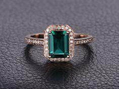 Emerald Engagement Ring  14K Rose Gold Engagement Ring