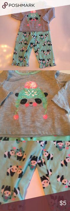 Panda pajama set Gray long sleeve pajama top with panda wearing a winter hat. Matching light blue green fleece panda print sleep pants. Gently worn, good condition child of mine Pajamas Pajama Sets