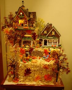 "Halloween Village Display / Dept. 56 Halloween Display / Fall Village Display / - Department 56 Snow Village ""Harvest Farms Roadside Sales"" and ""Scarecrow Harvest Festival"""