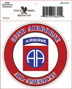 """82nd Airborne Division Military Decal- 3.5"""""""