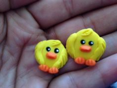 Duck polymer clay stud earring. on Etsy, $10.00