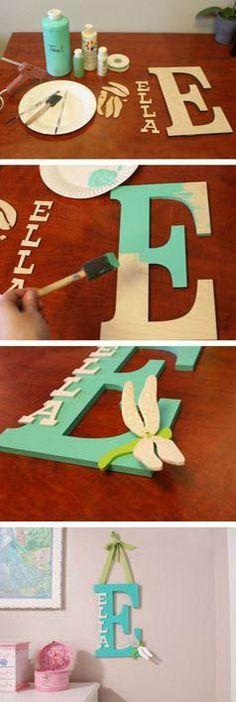 Ashley's baby-DIY – How To Make a custom Name Monogram Kids Crafts, Cute Crafts, Crafts To Do, Craft Projects, Projects To Try, Arts And Crafts, Baby Crafts, Diy Crafts Cheap, Diy Crafts Home