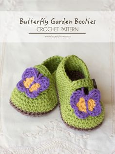 Hopeful Honey | Craft, Crochet, Create: Butterfly Garden Baby Booties - Free Crochet Patte...