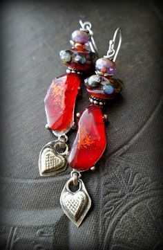 Lampwork Glass, Upcycled, Recycled, Red Glass, Kuchi-Banjara, Organic, Rustic, Heart, Beaded Earrings by YuccaBloom on Etsy