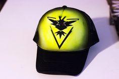 Pokemon go team instinct inspired personalized airbrush trucker hat…