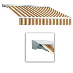 AWNTECH 18 ft. LX-Destin Left Motor Retractable Acrylic Awning with Hood/Remote (120 in. Projection) in