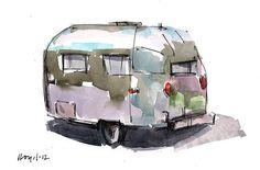 Original Painting Auto Car Retro Airstream by lloydgallery on Etsy, $35.00