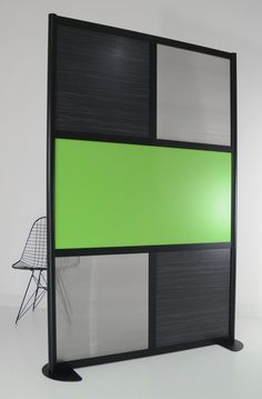 Black 4' Screen with Wood Laminate, Solid & Translucent Panels