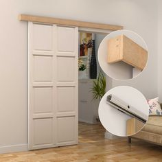 Homcom Classic Rustic Sliding Door Kit Set Antique Wood Door Hardware Track System - April 21 2019 at Sliding Door Design, Sliding Doors, Entry Doors, Sliding Wall, Front Entry, At Home Furniture Store, Modern Barn, Contemporary Barn, Internal Doors