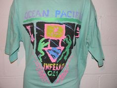 1dd796420f Vintage 80s 90s Ocean Pacific Neon Inferno Q21 Surf Skate T-Shirt Fits XL