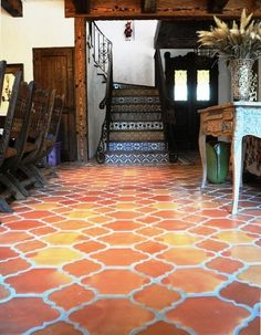 entry by Rustico Tile and Stone http://www.houzz.com/photos/2407779/Traditional-Riviera-Pattern-Saltillo-entry-