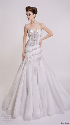 dar sara bridal 2016 wedding dresses spagetti strap sweetheart neckline beaded bodice drop waist mermaid gown