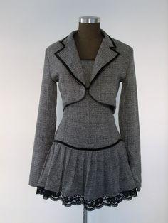 Abito vestito grigio senza maniche + giacca corta taglia XS tailleur