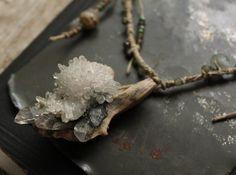 quartz crystal cluster hemp beaded necklace tibetan by nearlylost