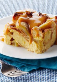 Slow-Cooker Apple Bread Pudding with Warm Butterscotch Sauce -- This dessert recipe is one of the more scrumptious things you could make in your slow cooker. Start unwrapping the caramels!