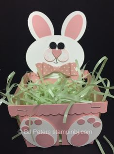Easter Bunny is hopping in! Spring Crafts, Holiday Crafts, Basket Crafts, Bunny Crafts, Punch Art Cards, Easter Projects, Easter Ideas, Berry Baskets, Easter Baskets