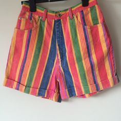 2bb9f7b2f9 Vintage colourful rainbow stripy denim shorts. High waisted. Amazing shorts  purchased from Recession Rags. Depop