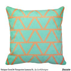Unique Coral & Turquoise Luxury Decorative Pattern Throw Pillows