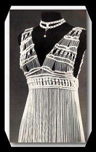 Macrame Clothing Patterns | MACRAME ~ Awsome DRESS & NECKLACE PATTERN with BELT & BAG ~Vintage ...