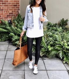 Ways To Style Adidas Superstar Sneakers - Adidas White Sneakers - Latest and fashionable shoes - Mom Style Adidas Superstar Look, Superstar Sneakers, Big Fashion, Look Fashion, Autumn Fashion, Womens Fashion, Fashion Trends, Fashion Edgy, Ladies Fashion