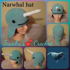 crochet Narwhal hat fun and cozy to wear! https://www.facebook.com/jessikascrochet/