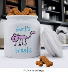 Personalized Pet Treat Jar with sealed top to keep in freshness.