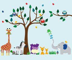 Árbol de la selva de la pared etiqueta etiqueta por WallArtPlanet