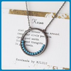 Simple Minimal Karma Circle Simulated Turquoise Black Necklace - Wedding nacklaces (*Amazon Partner-Link)