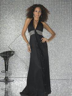 2012 Style Sheath / Column Halter  Beading  Sleeveless Floor-length Chiffon Black Prom Dress / Evening Dress