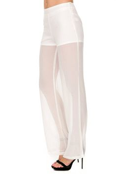 White sheer chiffon pants.