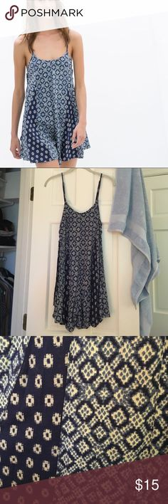 Zara TRF blue diamond pattern romper, S/M Zara Trafaluc romper size small/medium. Not sure what size this is (it's a few seasons old!) but could fit either size. Has cute side tie detail. And adjustable straps. No trades. Zara Pants Jumpsuits & Rompers