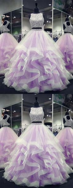Ruffle prom dress - Exquisite Sequin Beaded Organza Ruffles Prom Dresses Two Piece Cute Prom Dresses, Sweet 16 Dresses, Ball Dresses, Pretty Dresses, Beautiful Dresses, Ball Gowns, Evening Dresses, Beaded Dresses, Winter Dresses