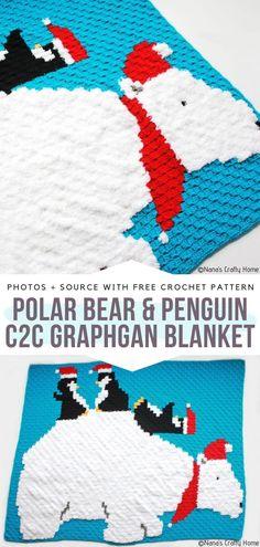 How to Crochet Polar Bear & Penguin Graphgan Blanket Baby Afghan Crochet, Baby Afghans, Crochet Blankets, Crochet For Kids, Free Crochet, C2c Crochet, Crochet Santa Hat, Corner To Corner Crochet, Winter Blankets