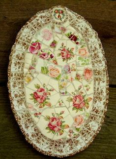 Broken China Platter - This is a great idea to salvage your fine china if one breaks - looks beautiful! - #Mosaic #China