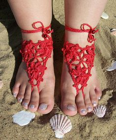 Red Sexy crocheted barefoot sandals  steampunk victorian by dosiak, $15.00