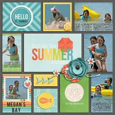 Hello St. Thomas digital pocket scrapbook layout by Juli Fish. Credits - Summer Bucket List: In The Water Collection (Kit and Journal Cards) by Amanda Yi   Background paper from Be Bold by Amanda Yi and Studio Flergs   Weekly Roundup Templates Vol 6 by Digital Scrapbook Ingredients pocket scrapbook, Project Life, vacation, travel, cruise, family, beach, water, sisters, multiple photos