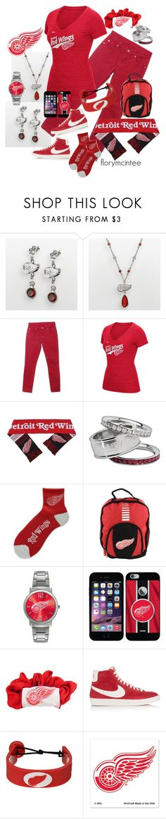 """""""Detroit Red Wings"""" by florymcintee ❤ liked on Polyvore featuring LogoArt, 7 For All Mankind, CCM, For Bare Feet, Forever Collectibles, Game Time, Coveroo, Little Earth, NIKE and GameWear"""