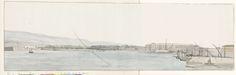 Louis Ducros | Gezicht op haven van Messina en bergen van Calabrië vanaf kade, Louis Ducros, 1778 | Tekening uit het album 'Voyage en Italie, en Sicile et à Malte', 1778.