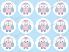Free Printable Scrapbook Paper Owls | Owl Digital Scrapbooking Paper - Light Blue - Circles - Baby Shower ...